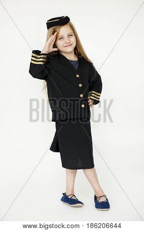 Girl wearing flight attendant uniform for dream job