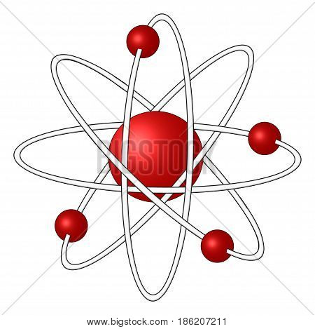 A 3D atom with four electrons with red neutron and electrons