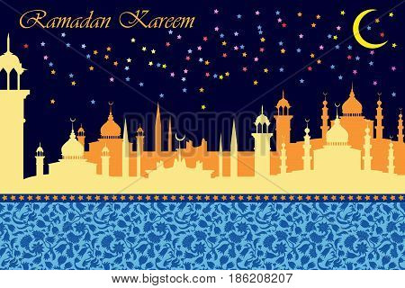 Night city panorama with mosques, minarets and crescent moon on dark blue background.