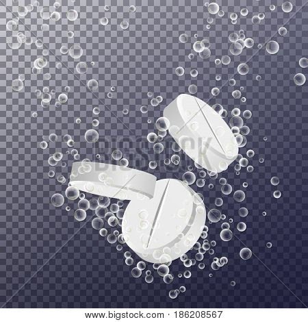 Effervescent Medicine. Fizzy Tablet Dissolving. White Round Pill Falling In Water With Bubbles
