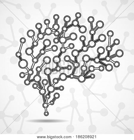 Abstract brain human colorful molecular structure. Vector