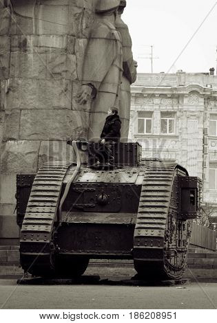Monument. Mk V - British heavy tank of the First World War, the boy on the tank. Photographed in Kharkov, Ukraine. Date / Time: 2004-04-11 16:35:22