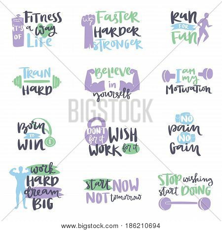 Vector design hand drawn element for motivational sport poster banner gyms crossfit trainings motivation text lettering. Work positive motivate concept message typographic workout lifestyle.
