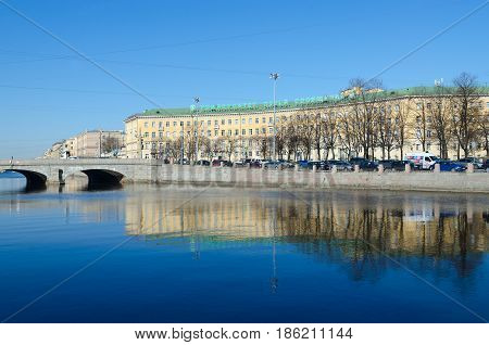 SAINT PETERSBURG RUSSIA - MAY 2 2017: St. Petersburg State University of Ways of Communications of the Emperor Alexander I (building on corner of Moscow Avenue and Fontanka Embankment) Russia
