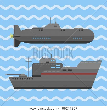 Military technic army war ship and industry technic armor defense vector collection. Transportation weapon technic exhibition international fighting conflict weaponry tracks.