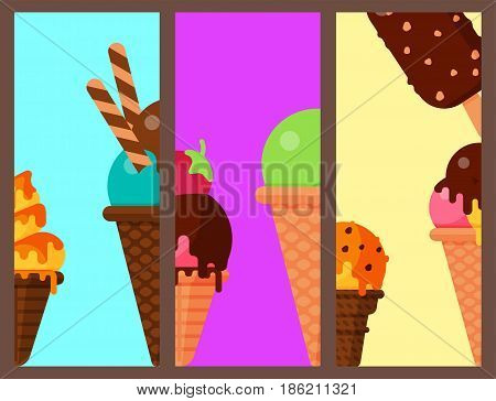Sweet cartoon cold ice cream cards set and tasty frozen icecream collection vector delicious colorful desserts. Chocolate and milk party wafer dairy product sugar scoop vanilla tasty fruit topping.
