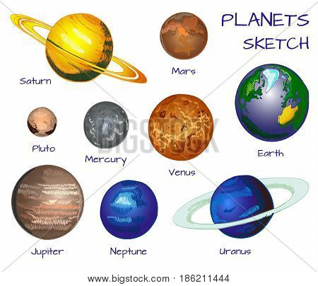 Planets of the solar system. VECTOR hand drawn set isolated on white background.