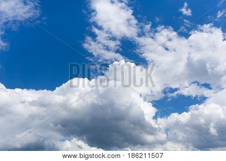View on beautiful white clouds in a blue sky. Clouds and Skies in the Morning.  The Sun behind Clouds. Cloudy Weather. Cloud Formations. White Clouds