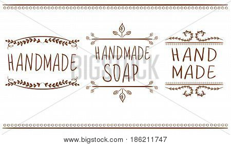 Set of typographic elements. Hand made, hand made soup. VECTOR. Brown lines