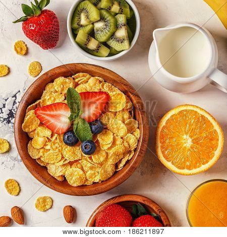 Healthy Breakfast - Bowl Of Corn Flakes, Berries And Fruit