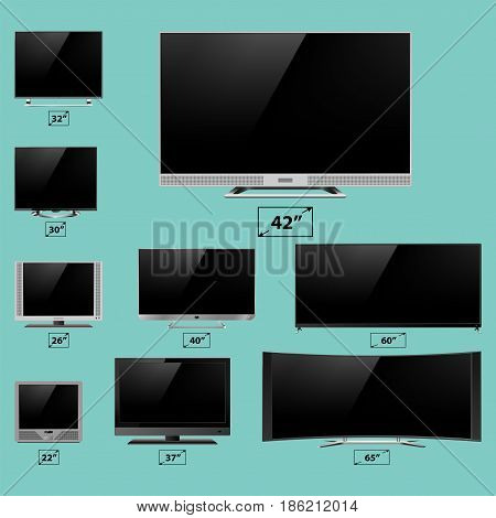 TV screen lcd monitor template electronic device technology digital device size diagonal display vector illustration. Elegance media panel crystal definition electronic video reflection.