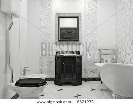 Luxurious bathroom in classic style interior design with white marble tile silver mosaic and black washstand furniture. 3d render