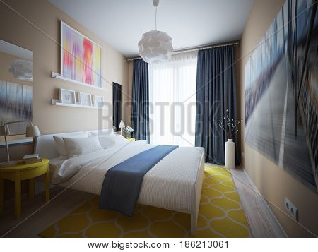 Urban Contemporary Modern Scandinavian Bedroom Interior Design With Yellow and Blue accents. 3d rendering