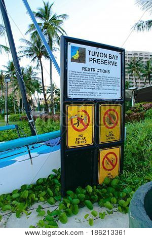 A danger beach sign in the pacific island of Guam
