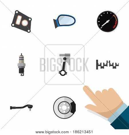 Flat Parts Set Of Gasket, Steels Shafts, Conrod And Other Vector Objects. Also Includes Plug, Speedometer, Packing Elements.