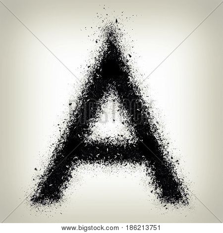 Letter A From Alphabet Exploding