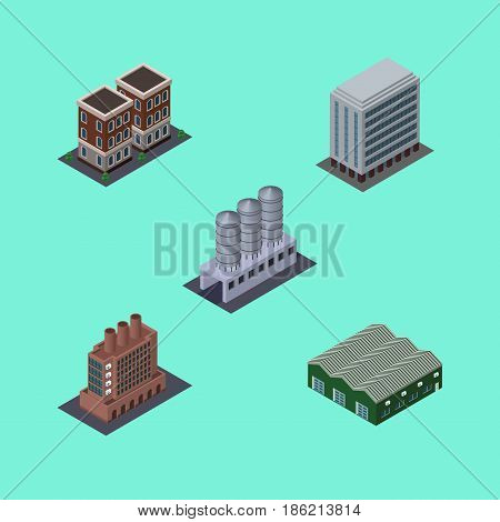 Isometric Building Set Of Water Storage, House, Office And Other Vector Objects. Also Includes Depot, Building, Firm Elements.