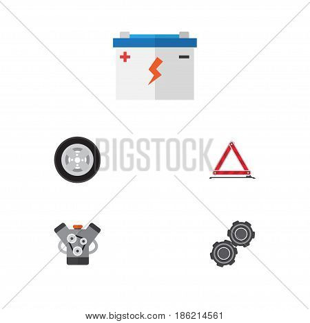 Flat Service Set Of Belt, Motor, Warning And Other Vector Objects. Also Includes Battery, Wheel, Pulley Elements.