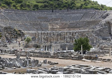 Antique, Ancient, Ruins, Ephesus, Decoration, Travel, Heritage, Architecture, Building, Culture, Moody, Carved, Landmark, Famous, Temple, Architectural, Historic, Monument, History, Turkey, Stunning, Greek, Archaeological, Tourist, Celsius, Historical, At