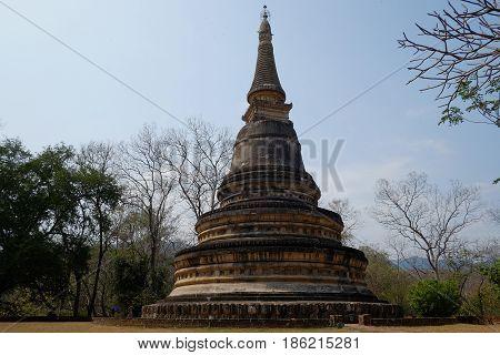 Ancient pagoda in Wat Umong, Chiang Mai, Thailand