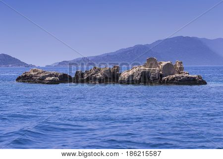 Flooded ancient Lycian city as a result of the earthquake city. Near the city of Simena in the vicinity of Kekova Turkey.