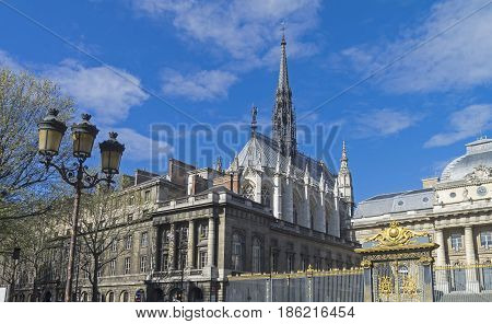 View of the chapel of Saint-Chapelle. Paris France a sunny day in early April.