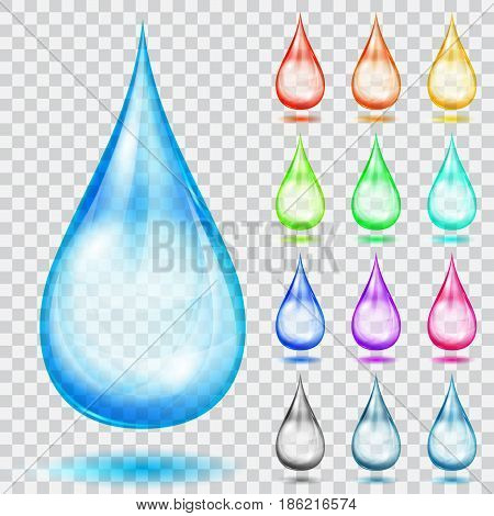 Set of translucent multicolored drops with shadows isolated on transparent background. Transparency only in vector format
