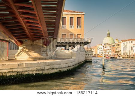Venice Italy - April 23 2017: Ancient and Modern Architecture merge in beautiful Venice Italy.