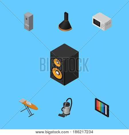 Isometric Appliance Set Of Air Extractor, Microwave, Vac And Other Vector Objects. Also Includes Fridge, Cleaner, Board Elements.