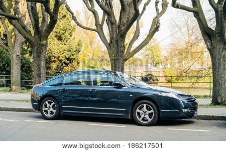 PARIS FRANCE - APR 3 2017: Citroen C6 luxury limousine on a French street. he Citroen C6 is an executive car produced by the French car maker Citroën from 2005 to 2012