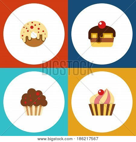 Flat Cake Set Of Doughnut, Muffin, Dessert And Other Vector Objects. Also Includes Cupcake, Muffin, Donuts Elements.