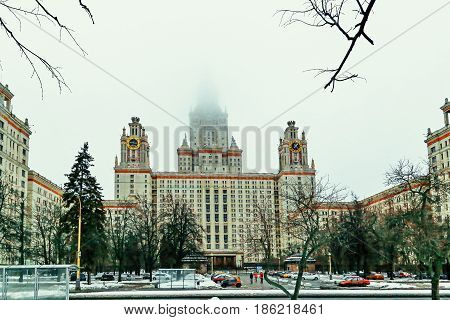 The building of the Moscow State University in the fog