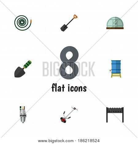 Flat Garden Set Of Grass-Cutter, Trowel, Spade And Other Vector Objects. Also Includes Trowel, Container, Water Elements.