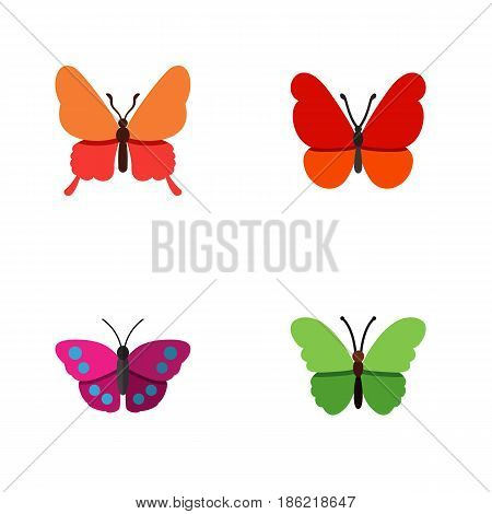 Flat Moth Set Of Archippus, Milkweed, Monarch And Other Vector Objects. Also Includes Butterfly, Milkweed, Moth Elements.