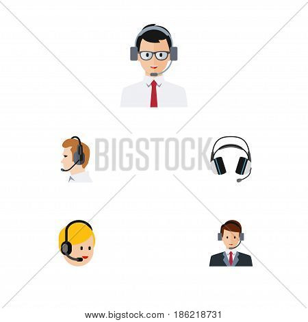 Flat Telemarketing Set Of Help, Earphone, Telemarketing And Other Vector Objects. Also Includes Online, Earphone, Secretary Elements.