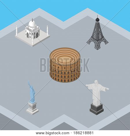 Isometric Travel Set Of Coliseum, India Mosque, Rio And Other Vector Objects. Also Includes Christ, Tower, Redeemer Elements.