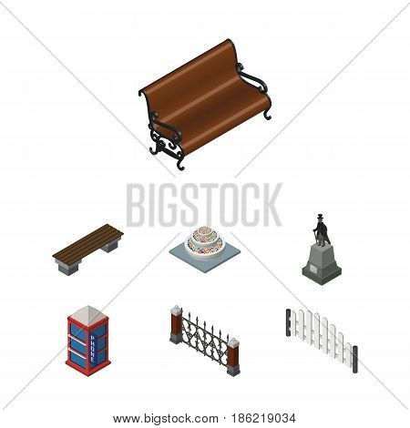 Isometric Urban Set Of Fence, Sitting, Bench And Other Vector Objects. Also Includes Telephone, Flowers, Barricade Elements.