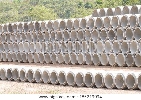 Concrete drainage pipes stacked wait for installation