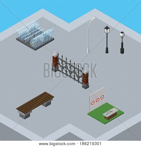 Isometric Architecture Set Of Fence, Fountain, Aiming Game And Other Vector Objects. Also Includes Park, Bench, City Elements.