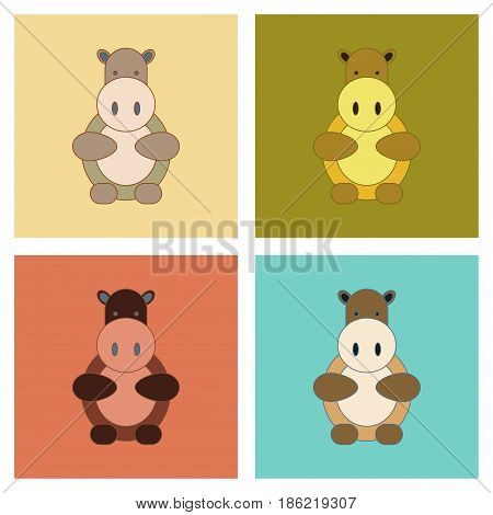 assembly of flat icons Kids toy hippo