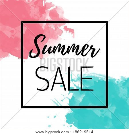 Summer sale Vector background for banner, poster, flyer, card, postcard, cover, brochure The inscription Summer sale in a black thin frame on a white background with blue and pink watercolor stains