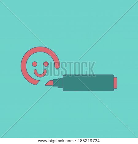 flat icon on stylish background Kids toy felt-tip marker