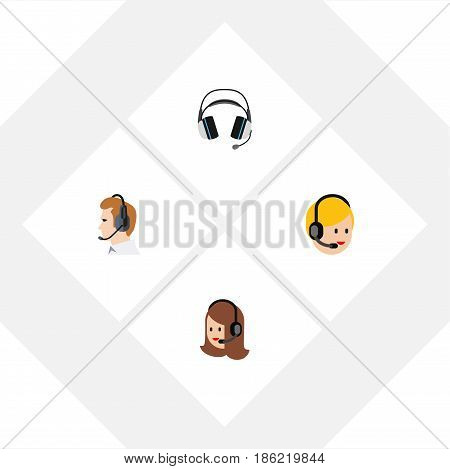 Flat Telemarketing Set Of Service, Telemarketing, Earphone And Other Vector Objects. Also Includes Headset, Headphone, Call Elements.