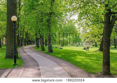 TALLINN ESTONIA - MAY 15: Picturesque alley in spring time Kadriorg park on May 15 2016 in Tallinn Estonia.