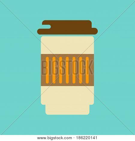 flat icon on stylish background coffee to go caffeine