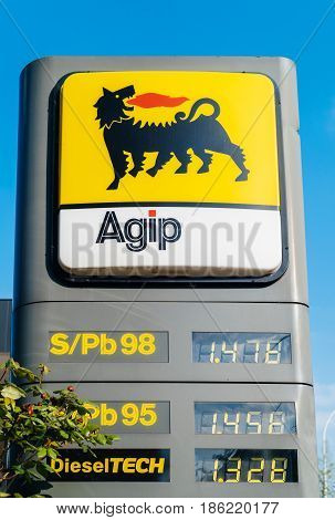 STRASBOURG FRANCE - APR 3 3017: AGIP gas station with price for leaded and unleaded diesel petroleum prices. AGIP (azienda generale italiana petroli--general italian oil company) is a former italian automotive gasoline diesel lpg lubricants fuel oil and b