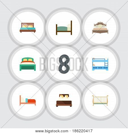 Flat Bed Set Of Bedroom, Hostel, Cot And Other Vector Objects. Also Includes Cot, Bed, Crib Elements.