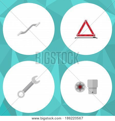 Flat Service Set Of Turnscrew, Coupler, Warning And Other Vector Objects. Also Includes Ratchet, Car, Stop Elements.