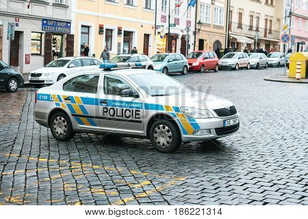 Prague, Czech Republic - December 25, 2016 - The police on the streets. Patrol car on Christmas day in Prague. Strengthening of security measures during public holidays.