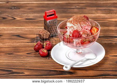 Stil Life Of Dessert Strawberry Pink Vanilla Ice Cream Scoops With Grater, Chocolate And Fresh Straw